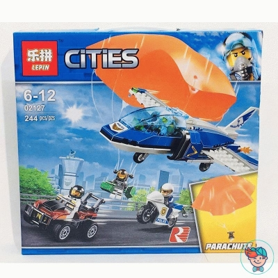 Конструктор Lepin Cities 02127 Воздушная полиция: Арест парашютиста (Аналог Lego 60208) 244 деталей